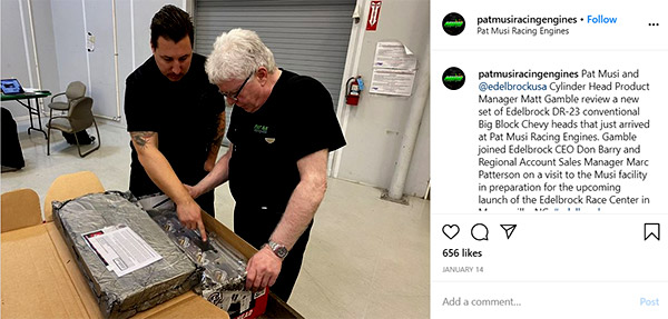 Image of Caption: Pat Musi and Edelbrock Cylinder Head Product Manager Matt Gamble review a new set of Edelbrock DR-23
