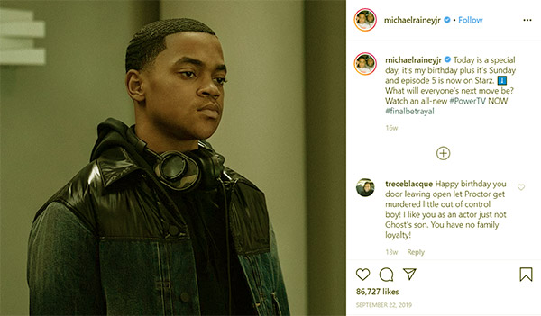 Image of Caption: Michael Rainey Jr posted a picture of himself on his birthday on his Instagram