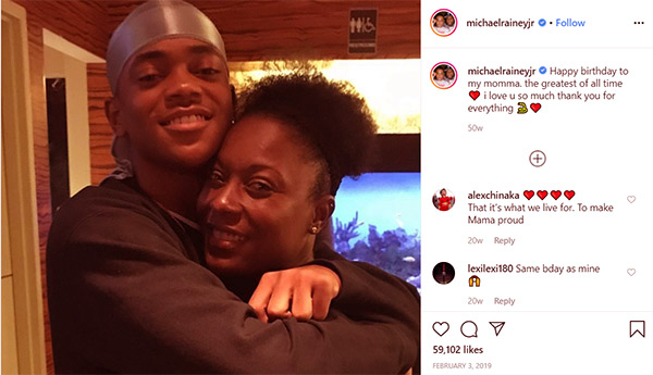 Image of Caption:Rainey Jr. posted a photo of him and his mother and captioned it with a love emoji