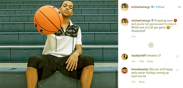Image of Caption: Michael Rainey Jr shared a photo of himself playing basketball on his social media