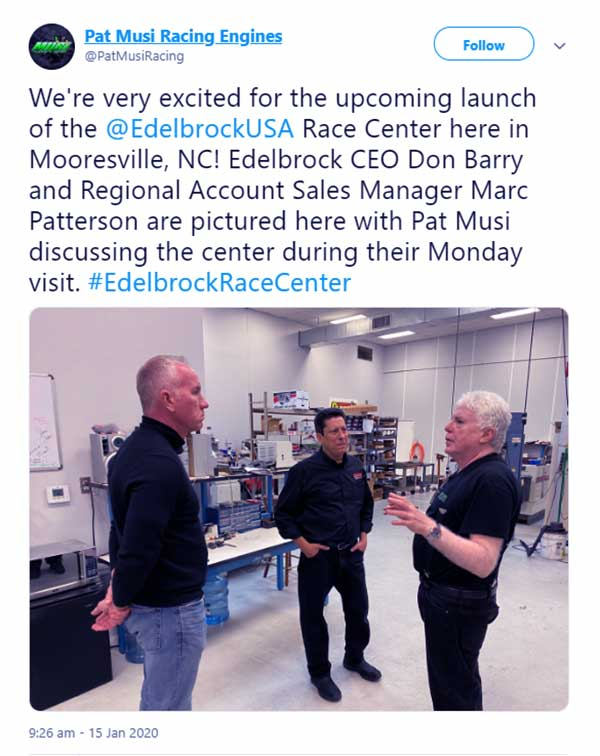 Image of Caption: Edelbrock CEO Don Barry and Regional Account Sales Manager Marc Patterson was discussing with Pat Musi in the center during their visit