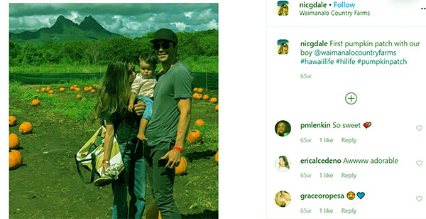 Image of Caption: Nicole with husband Ian and son Anthony visiting a pumpkin patch