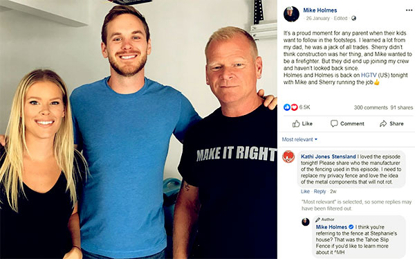 Image of Caption: Mike Holmes with son, Mike, and daughter, Sherry