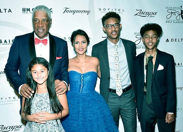 Image of Caption: Julius and Dorys Three children, Jules, Justin, and Julietta, attended the Julius Erving Red Carpet & Pairings Event at Sofitel Hotel on September 11, 2016, in Philadelphia, PA