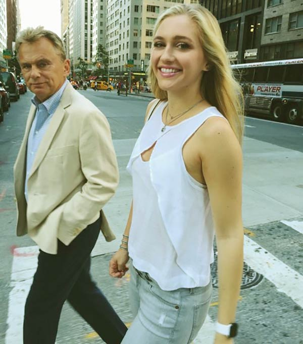 Image of Caption: Pat Sajak with his daughter, Maggie Marie has worked on Wheel of Fortune for a few weeks
