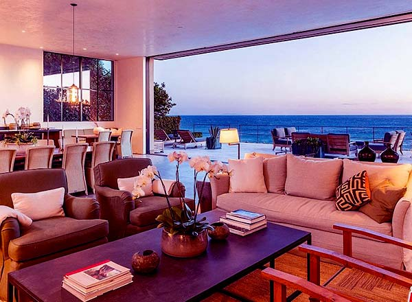 Image of Caption: Patrick and Rodgers bought a Malibu beachfront home in late 2019