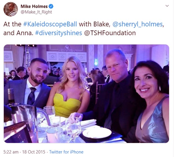 Image of Caption: Mike Holmes with son, daughter and girlfriend Anna