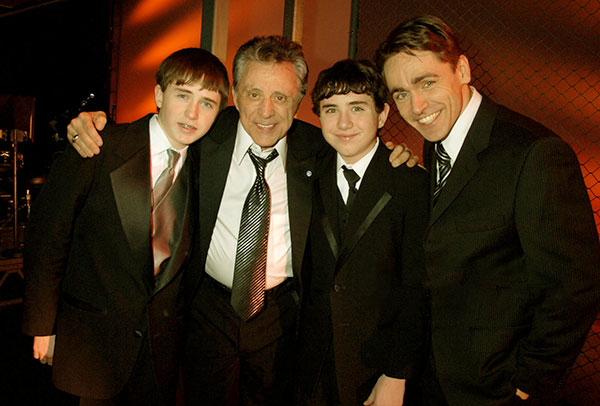 Image of Caption: Randy and Frankie's three sons at the firts night of musicla Jersey Boys in London