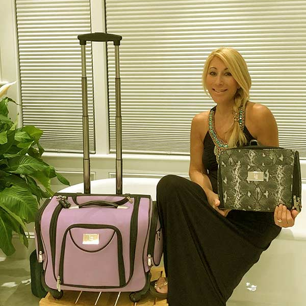 Image of Caption: Lori launched travel bags on Labour Day Weekend