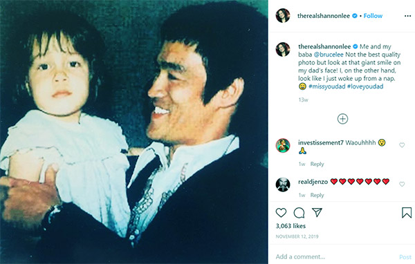 Image of Caption: Shannon Lee with her father Bruce Lee