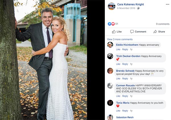 Image of Caption: Cara Kokenes celebrating their third anniversary with Christopher