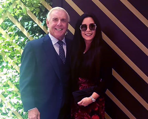 Image of Caption: Ric Flair married to fifth wife, Wendy Barlow in 2018 before his daughter's wedding