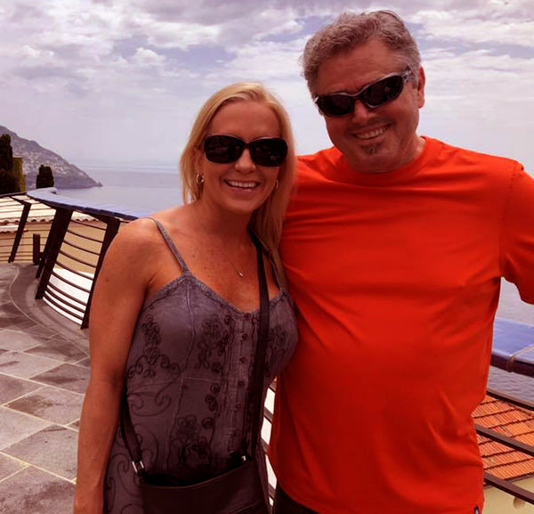 Image of Caption: Cara Kokenes with her husband Christopher Knight