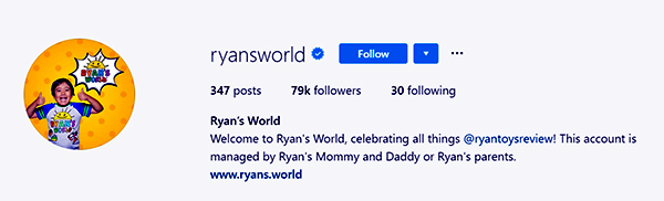 "Image of Caption: Ryan Kaji Instagram bio, he wrote, ""Welcome to Ryan's World, celebrating all things @ryantoysreview!"""
