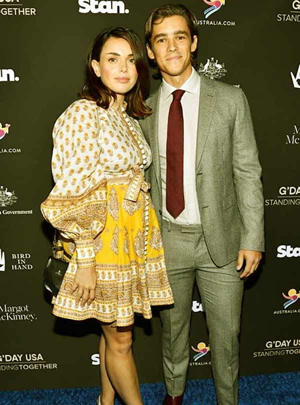 Image of Caption: Chloe Pacey and Brenton Thwaites attended G'Day USA 2020