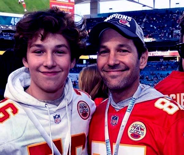 Image of Caption: Paul Rudd attended Super Bowl LIV with his teenage son Jack Sullivan, at the Hard Rock Stadium in Miami on February 2, 2020