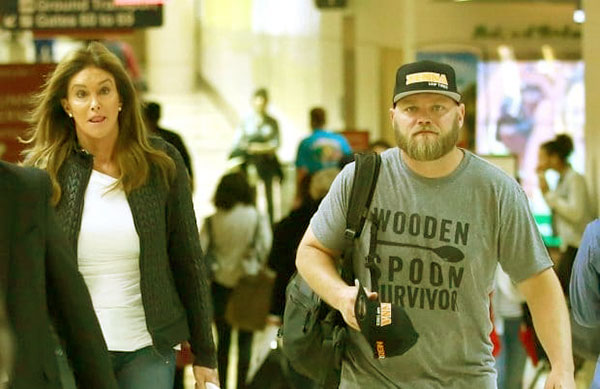 Image of Caption: Burton Jenner aka Burt pictured with Caitlyn Jenner in airport