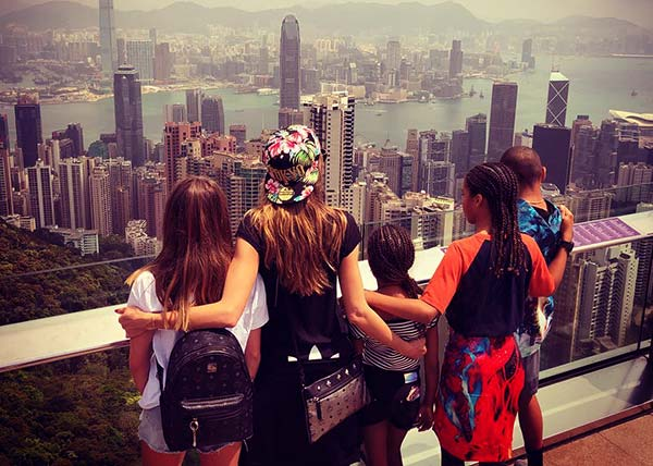 Image of Heidi Klum spending quality time with her children in Hong Kong