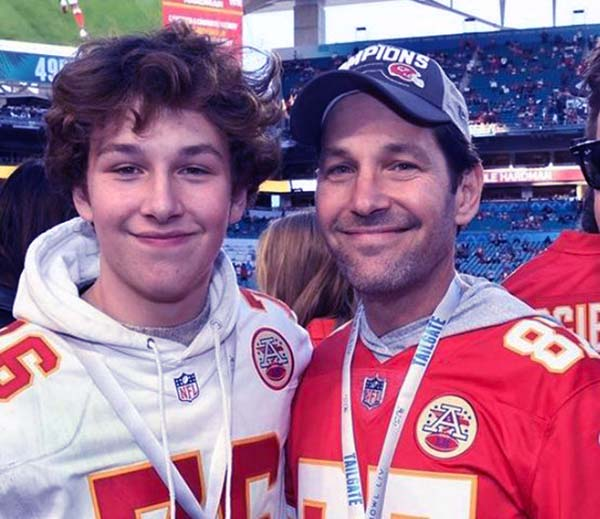 Image of Paul Rudd and his teenage son Jack Sullivan attended Super Bowl LIV that held at the Hard Rock Stadium in Miami