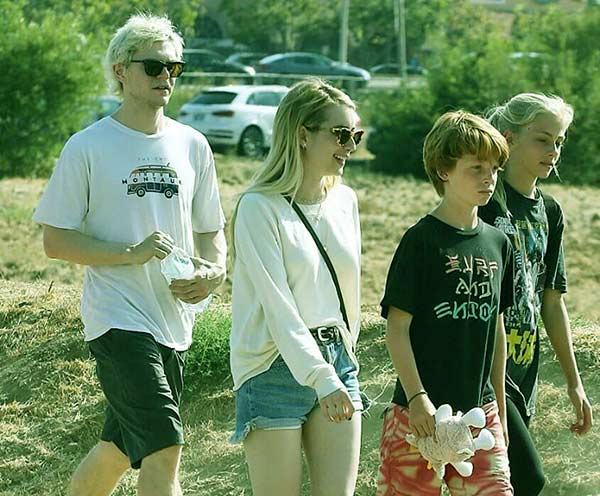 Image of Hazel and her brothers were spotted in Malibu with Emma Roberts in 2018