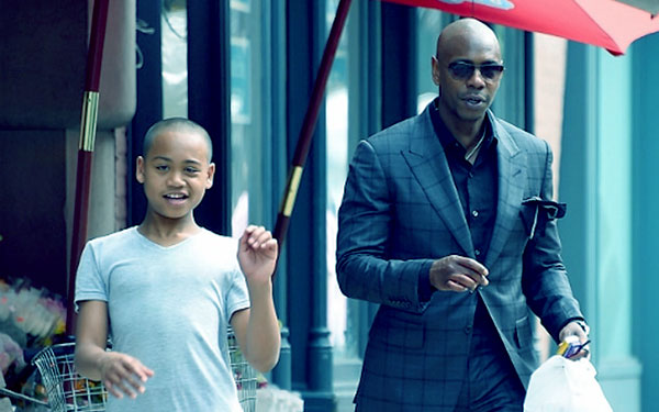 Image of Ibrahim with his dad Dave Chappelle.