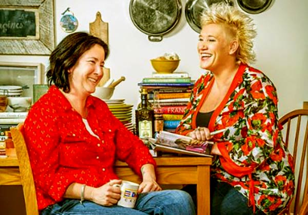 Image of Koren Grieveson and Anne Burrell engaged in 2012