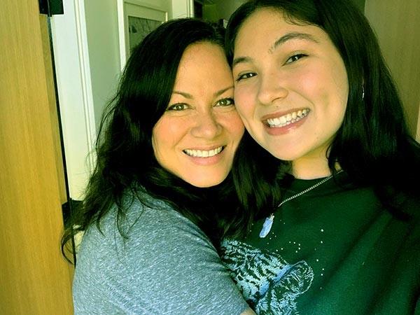 Image of Caption: Wren Keasler is spending quality time with her mother at their home