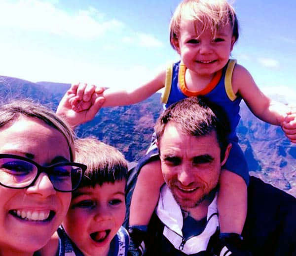 Image of Jake Anderson with his wife and sons