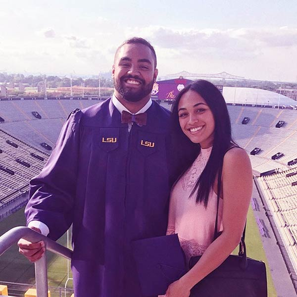 Image of Karlee Malone with her older brother K.J. Malone at Stadium