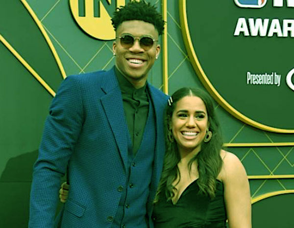 Image of Mariah Riddlesprigger with her boyfriend Giannis Antetokounmpo