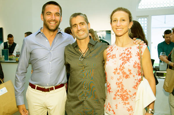 Image of Jeremiah Kittredge with his wife Emma Bloomberg (left) and Shawn Heinrichs (center)