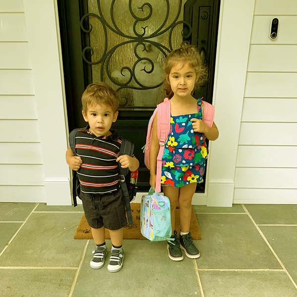 Image of Milana and Remo's first day of school