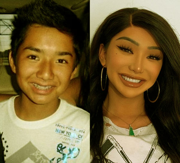 Image of Nikita Dragun before and after her transition