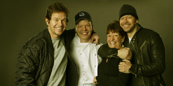 Image of Alma Wahlberg with her sons, Mark, Donnie and Paul
