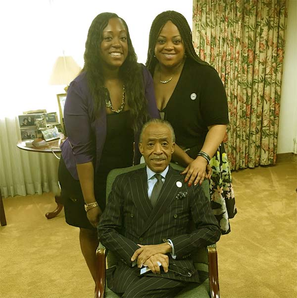 Image of Al Sharpton with daughters, Dominique and Ashley